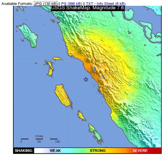 Peta Kekuatan Gempa di wilayah Padang