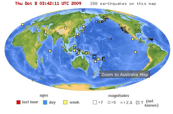 Peta Lokasi Gempa Dunia dalam 1-minggu